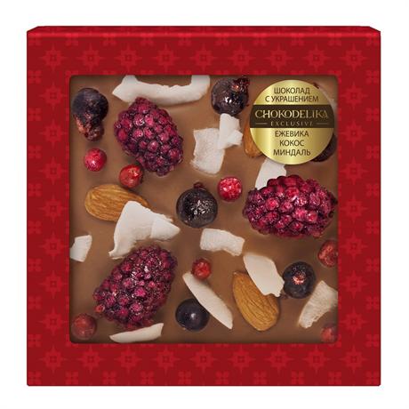 Шоколад молочный с украшением Chokodelika Ежевика, кокос, миндаль, 75 г - фото 10840