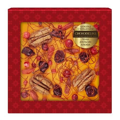 Шоколад белый с украшением Chokodelika Пекан, апельсин, клюква, 75 г - фото 10841
