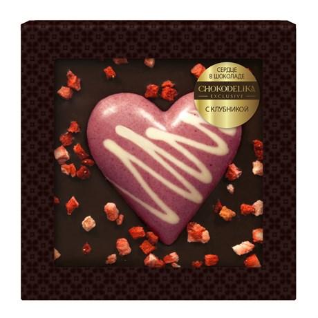 Сердце в шоколаде с клубникой, в блистере 90г - фото 10849