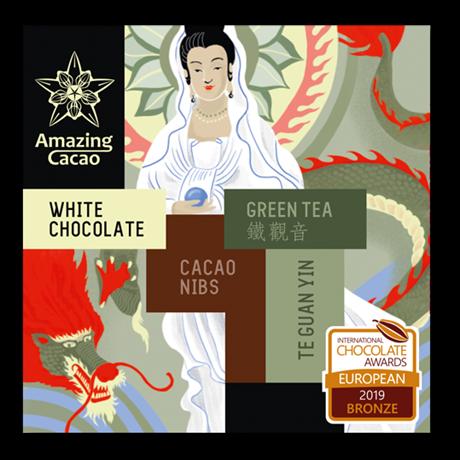 Шоколад белый Amazing Cocao Зеленый чай с нибсами, 60 г - фото 11368