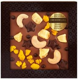 Шоколад молочный с украшением Chokodelika Кешью, ананас, апельсин, 75 г