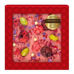 Шоколад белый с украшением Chokodelika Малина, фисташка, вишня, 75 г